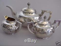 1111 Grs ANTIQUE CHINESE CHINA EXPORT SOLID SILVER TEA SET POT BOWL CREAMER 1880