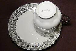 17 Pcs. Gorgeous Silver Accent Fine Porcelain China Coffee / Tea Set