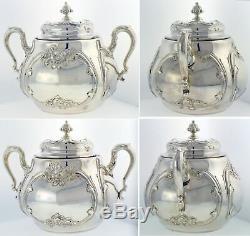 1893 Dominick & Haff Sterling Silver Vermeil Repousse Floral 3 Piece Tea Set