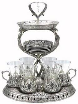 19 Pc Ottoman Style Turkish Tea Set 6 with Tower Style Tray Stand (Antique Silver)