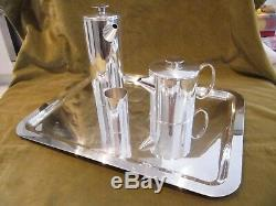 1970 silverplate christofle tea coffee set 4p Lino Sabattini Mercury pattern