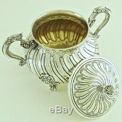 19c Antique French Sterling Silver Tea Coffee Milk Pot Sugar Bowl Serving Set 4p