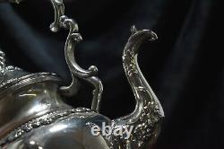 19th Century Victorian Silver on Copper Tea Set 10pc Grape Pattern