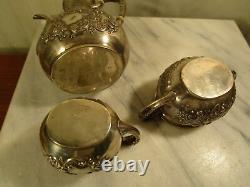 3 pc Sterling Silver Tea Set Gorham Birmingham Lion Anchor 1899