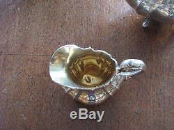 3 piece Ornate Old Reed & Barton Hampton Court pattern Sterling Silver Tea Set