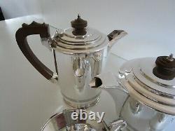 4 Piece Art Deco Silver Plated Tea Set, Walker & Hall, Circa 1930