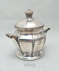 4-Piece Black Starr & Frost Sterling Silver Demitasse Tea Set With Tray