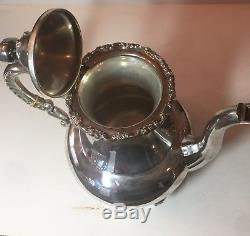 4 Piece Sterling Handarbeit Sterling Silver Set Coffee, Tea& Sugar & Creamer