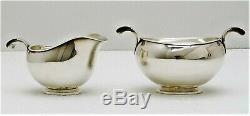 4 pc Hugo Grün Danish Sterling Silver Mid-Century Modern Tea Coffee Set
