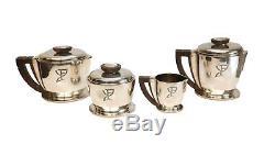 4pc Jean Puiforcat Sterling Silver Wood Art Deco Coffee & Tea Service Set c1920