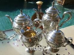 4pc OLD TEA COFFEE SET INTERNATIONAL STERLING SILVER RARE LARGE POTS BOWL 89+ Oz