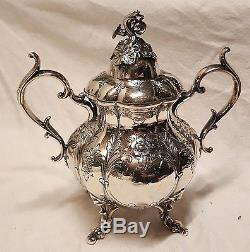5 Pc Reed & Barton Coffee Tea Service Set Hand Chased 1795C Serving Tray 06115