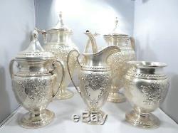 5 Piece Ellmore Sterling Silver Tea Set Lily Pattern 92.3 Troy Ounces