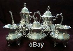 5 Piece Poole Lancaster Rose Sterling Silver Tea Set