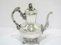 5 piece European Silver Antique German Rose Decorated Tea Coffee Set