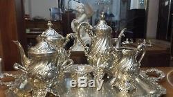 5785g SET STERLING SILVER RICH ENGLISH STYLE COFFEE-TEA 6 ITEMPEREZ. FER& WELSCH