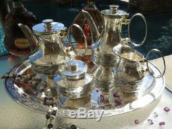 5p OLD ITALIAN SILVER TEA COFFEE SET TRAY ART DECO MODERN HANDMADE RARE sterling
