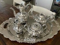 5pc 1836 London Edward James William Barnard Sterling Silver Coffee / Tea Set