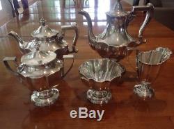 5pc Shreve & Co. Sterling Silver Coffee & Tea Service Set c1900