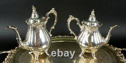 6 PC Wallace BAROQUE Silverplate Tea Coffee Set Tray Pots Sugar Creamer Etc