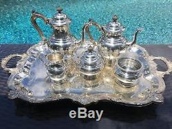 6 Pc Heavy 1946 Gorham Sterling French Style Coffee / Tea Set Great Condition