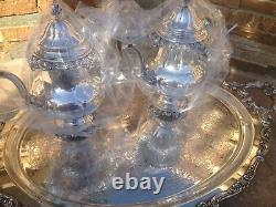 6 Pc Near Museum Quality Wallace Grande Baroque Sterling Silver Tea Set Grand