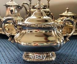 6 Piece Stunning Antique Gorham Silver Plate Coffee/Tea Set with Tipping Tea Pot