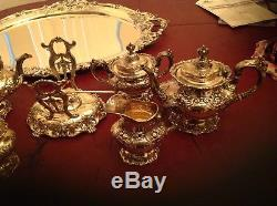 7 Piece Reed & Barton Francis I Sterling Tea Set W Tray And Kettle 388 Troy Oz