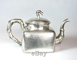 932 Grs ANTIQUE CHINESE CHINA EXPORT SOLID SILVER TEA SET POT BOWL CREAMER 1880
