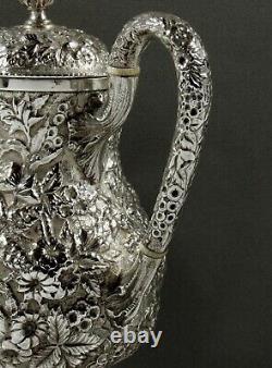 A. E Warner Sterling Tea Set c1850 HAND DECORATED