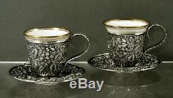 AG Schultz Sterling Tea Set c1905 Hand Decorated