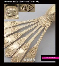 ANTIQUE 1850s FRENCH ALL STERLING SILVER 18k GOLD VERMEIL TEA SPOONS SET 12 pc