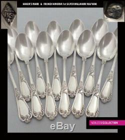 ANTIQUE 1880s FRENCH STERLING SILVER TEA COFFEE SPOONS SET 12 pc Rococo st. 298g