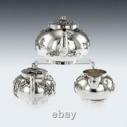 ANTIQUE 20thC CHINESE SOLID SILVER CHERRY BLOSSOM TEA SET, CHONG WOO c. 1900