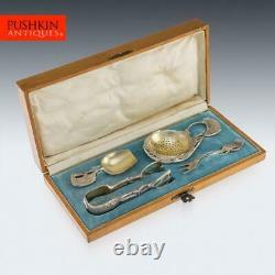 ANTIQUE 20thC IMPERIAL RUSSIAN FABERGE SILVER TEA CUTLERY SET, SOKOLOV c. 1900