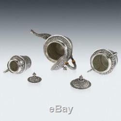 ANTIQUE 20thC INDIAN KARACHI-CUTCH SOLID SILVER TEA SET, J MANIKRAI c. 1900