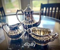 ANTIQUE STERLING SILVER TEA COFFEE SET 3PC POT SUGAR BOWL CREAMER 696 grams