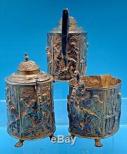 ANTIQUE STERLING SILVER TEA SET OVER 1000 GRAMS Circa 1927