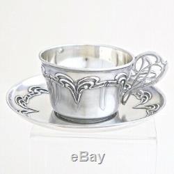 ART NOUVEAU C. 1900 Antique French Sterling Silver Tea Coffee Cup & Saucer Set 2p