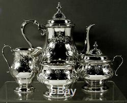 Alvin Sterling Tea Set c1940 Hand Chased No Monogram