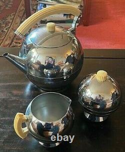 American Art Deco Chrome Tea Pot Sugar & Creamer Set Chase & Co. 1930s