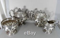 American Coin Silver TEA SET 4 Piece Teapot Creamer Sugar Bowl Antique c1830