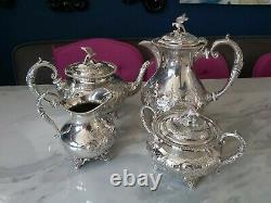 An Antique Silver Plated Bird Finial Tea Set. Embossed Patterns. J. Turton & co