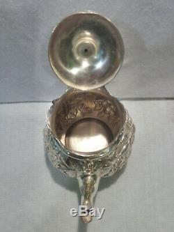Antique 1880's Krider Sterling Silver Floral Repousse 4-pc. Tea Set 18 Troy Oz
