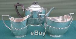 Antique 3-Piece Sterling Silver Tea Set, Reeded Decoration, Hallmarked 1891