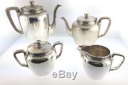Antique Art Deco 1911 Tiffany & Co Sterling Silver Vine Coffee Tea Pot Set Of 4