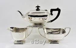 Antique Art Deco Silver Plated 3 Piece Tea Set (F H Adams & Holman, c1935)