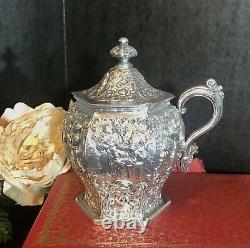 Antique Barbour Silver Co. Silver Plated Tea Set Dutch Repousse Scenes Set