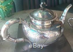 Antique Chinese China Export Solid Silver Tea Set Pot Bowl Creamer