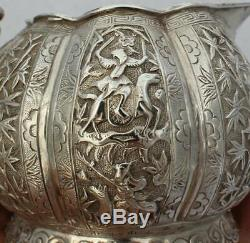 Antique Chinese Export Solid Silver Tea Set (R2657)